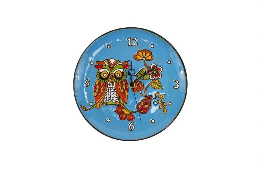 Orologio da muro in ceramica cuerda seca Gufo sfondo turchese, Ceramiche Liberati