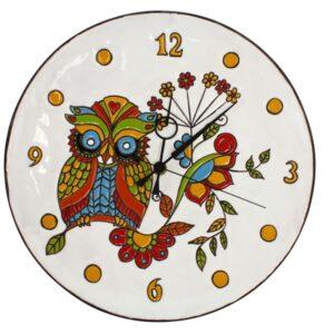 Orologio da muro in ceramica cuerda seca Gufo sfondo bianco, Ceramiche Liberati