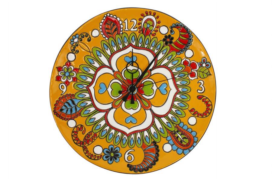 Orologio da parete in ceramica cuerda seca decoro floreale, Ceramiche Liberati