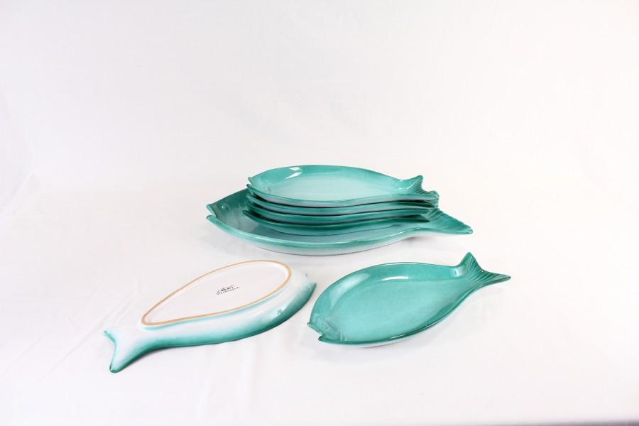 Set piatti a forma di pesce in ceramica 1 grande e 6 piccoli