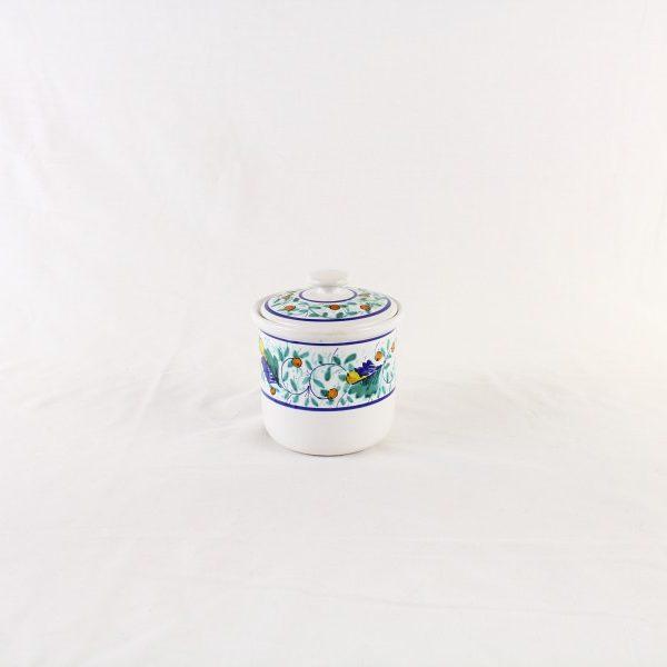 Barattolo in ceramica con coperchio decorato a mano