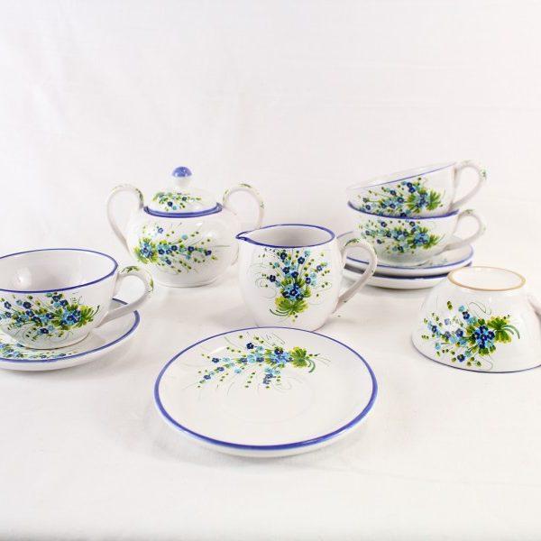 Servizio da per 4 decoro florale blu e turchese