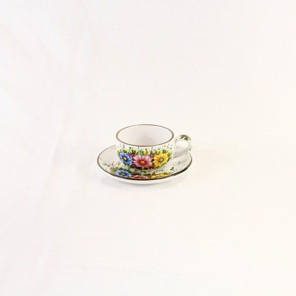 Tazza da colazione per latte o per tè con piattino, decoro fiori selvatici a colori