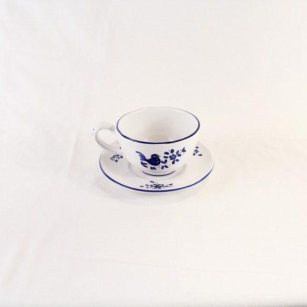 Tazza da colazione per latte con piattino, decoro blu con un uccellino, dipinto a mano