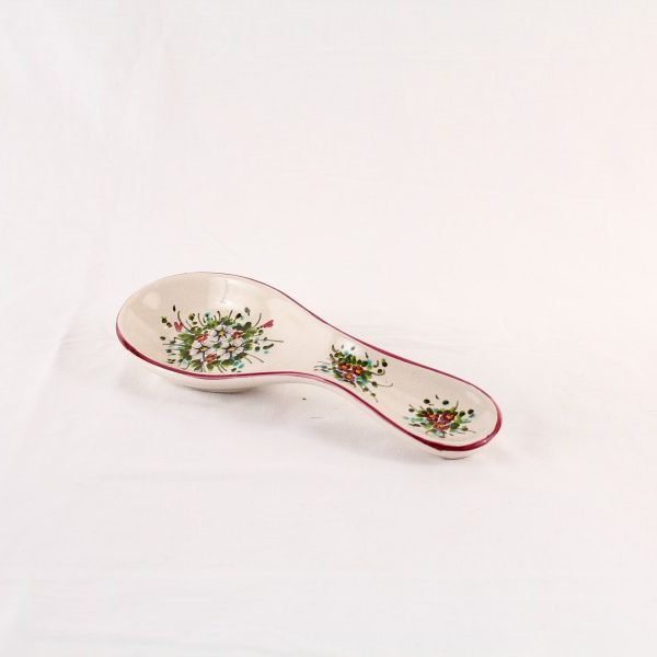 Poggiamestolo in ceramica con decoro floreale