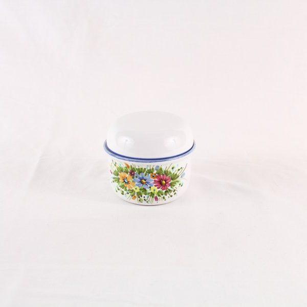 Barattolo in ceramica con coperchio decoro fiori selvatici