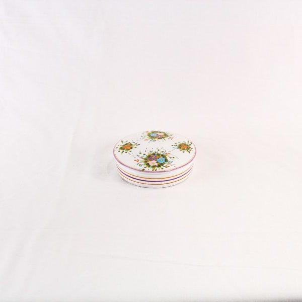 Scatola portagioie in ceramica con decoro fiori colorati