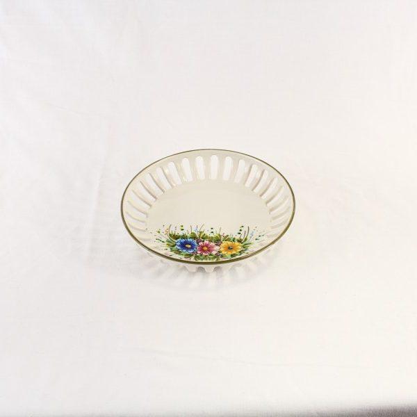 Ciotolina centrotavola in ceramica decoro fiori selvatici colorati