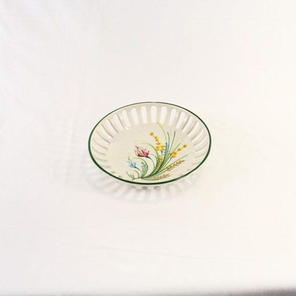 Ciotolina centrotavola in ceramica con decoro fiori a boquette