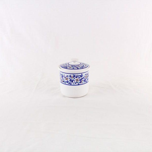 Barattolo in ceramica con decoro a fascia blu