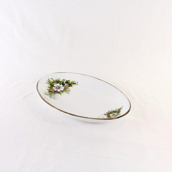 Piatto ovale sperlunga in ceramica con fiori dipinti a mano
