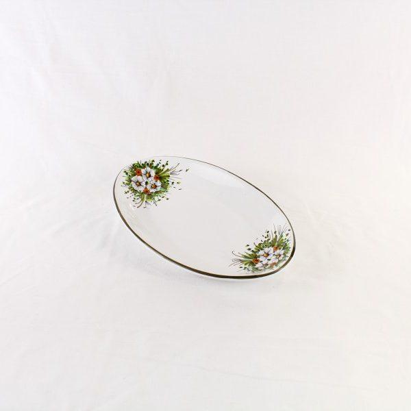 Piatto ovale sperlunga con fiori dipinti a mano 32x19