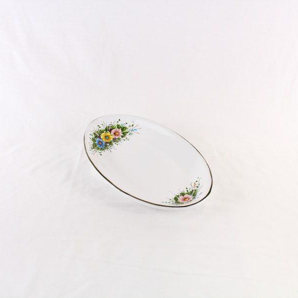Ovale sperlunga con decoro di fiori selvatici dipinto a mano