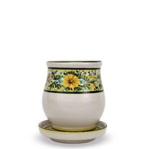 Scolaposate in ceramica artigianale con piattino, decoro Margherite, Ceramiche Liberati