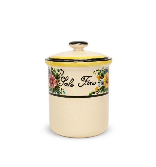 Barattolo in ceramica per sale fino, decoro Margherite di Ceramiche Liberati