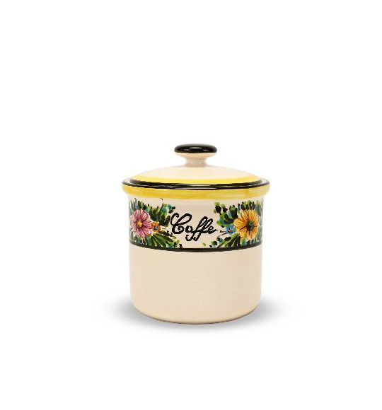 Barattolo in ceramica per caffè margherite, Ceramiche Liberati